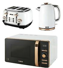 Swan Kitchen Retro Set 25l Cream Microwave 2l Pyramid Kettle & 4 Slice Toaster