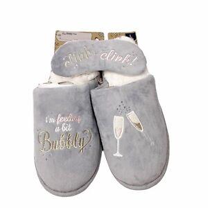 Dearfoams Gray Velour Clogs L 9-10 Novelty Champagne Bubbly Eye Sleep Mask NEW