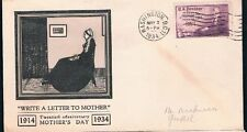 1934 Mother's Day 20th Anniversary 3c FDC Sc737-29 or 738-29 Linprint Cachet