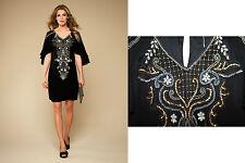 MONSOON Black Arabella Embellished Embroidered Sequin Short Sleeve Dress UK 10