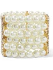 Kenneth Jay LANE KJL Pearl Bracelet One Size Expands Crystal Designer CUFF NEW