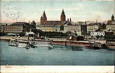 Mainz alte Postkarte 1909 Blick über den Rhein Dom Schiffe Schiff Rhein Dampfer