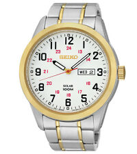 Seiko SNE370 SNE370P9 Mens Solar Watch WR100m Two-Tone RRP $495.00