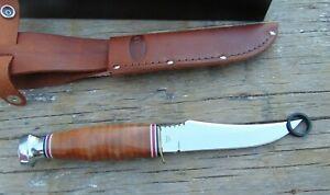 KA-BAR 1233 Skinner Stacked Leather Handle Fixed Blade Knife, NIB, free shipping