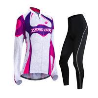 Womens Cycling Bicycle Bike Jersey & (Bib) Pants Long Sleeve Clothing Sets Suits