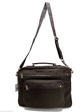 Fossil Men's Camden Top Zip Brief Case Brown Leather Laptop Commuter Work Bag