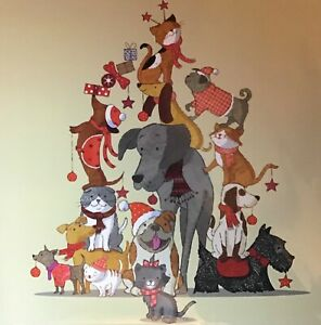 ANIMAL CHARITY CHRISTMAS CARD - SINGLE CARD - CATS - DOGS - PETS 'CRITTER TREE'