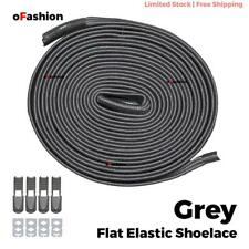 No Tie Shoelace Flat Elastic Shoe Lock Lace Sport Sneakers Unisex Grey