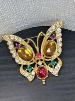 "Vintage Beautiful Assorted pastel rhinestone butterfly  Brooch Pin  1 3/4"""