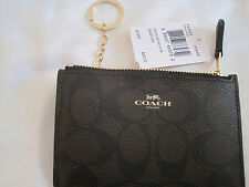 NEW COACH Signature Key Coin Pouch Wallet Brown Black New With Original Tag $65