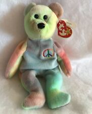 TY Beanie Baby Peace the Bear 1996 Fareham Rare With Tag Error