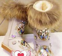 Winter Women's Warm Snow Boots Real Leather Fox Fur rhinestone mid-calf Shoes