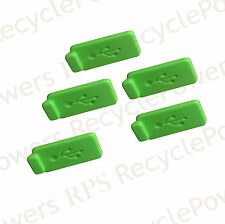 5 Green RUBBER SILICONE ANTI DUST USB PLUG COVER STOPPER for Computer Laptop