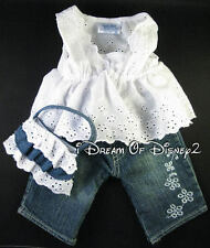 NEW BUILD-A-BEAR WHITE EYELET TOP, BLUE JEANS, PURSE SET TEDDY CLOTHES OUTFIT