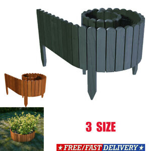 Spiked Roll Boarder Plug-in Fence 203 cm wooden border beds lawn edge 2 Colour