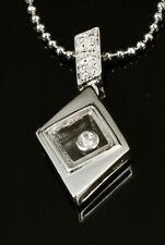 Stylish 925 Sterling Silver Pave CZ Pendant Necklace CZ gems Move Inside Glass