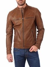 ★Giacca Giubbotto Uomo in di PELLE 100% Men Leather Jacket Veste Homme Cuir w90