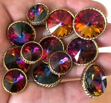 12 Vintage lot of Glass Metal Multi-Colored Kaliedoscope Like Buttons