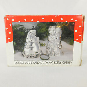 Double Jigger And Santa Hat Bottle Opener Silverplated 1995
