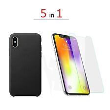 2 pack Original Design iPhone Xs Max, Xr Leather Case Protective+ 3 pack glasses