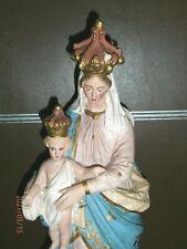 ANCIENNE STATUE PLATRE POLYCHROME/LA VIERGE A L'ENFANT JESUS/ND des VICTOIRES/1