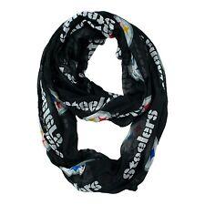 Pittsburgh Steelers NFL Black Sheer Infinity Logo Scarf ~ NEW