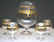 """VINTAGE """"CULVER"""" ANTIGUA GOLD BRANDY SNIFTERS WITH SNIFTER STYLE PITCHER COGNAC"""