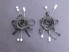 10 BEAUTIFUL BLACK 2.5CM SATIN ROSEBUDS ON SATIN BOW WITH BEADS ref B40