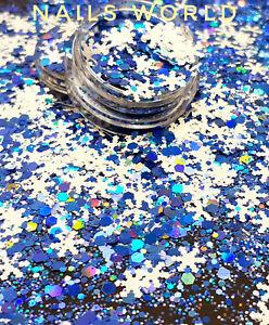 Christmas MIX White STAR Blue Hexagon Holographic Nail Art Glitter Sequins Xmas