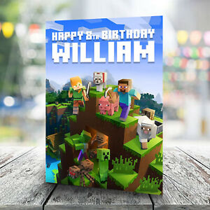 Minecraft Birthday Card - Personalised With Any Name and Age