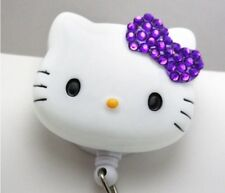 """Bling Hello Kitty 45mm / 1.9"""" Retractable Reel ID Badge Holder_purple Bow 1pc"""