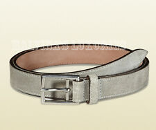 68a489908 $395 AUTH NEW GUCCI BELT 368193 MENS GREY SUEDE LEATHER SQUARE BUCKLE sz  100 /40