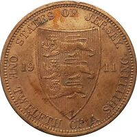 1911 States Of Jersey - One Twelfth of a Shilling Coin /MANY LUSTER  #OKTE179