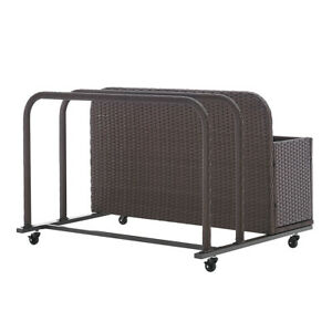 Outdoor All-Wicker Rolling Wicker Float Caddy Pool Toy Table Dolly Storage Brown