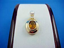 14K YELLOW GOLD CITRINE, DIAMOND AND GENUINE PEARL PENDANT 4.7 GRAMS