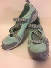 Ryka Womens 9 Kailee Mint Green Slip-On Mesh Walking Shoes Adjustable Strap