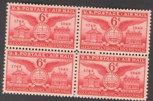 US. C40. 6c. Alexandria Bicentennial. Block of 4. MNH. 1949