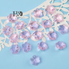 100 Pink Faceted Snowflake Glass Bead Crystal Prisms Chandelier Decor Parts 14mm