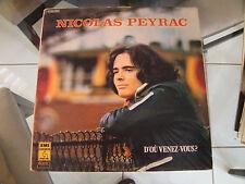 NICOLAS PEYRAC D'OU VENEZ-VOUS? EMI PATHE RECORDS STEREO C064.13034
