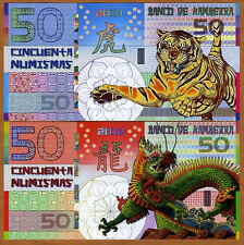 SET, Kamberra, POLYMER, 50 + 50, China Lunar Year 2010;2012, UNC > TIGER, DRAGON