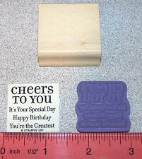 Happy Birthday Rubber Stamp Single Cheers to You by Stampin Up Lots of Thoughts