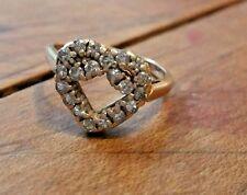 VINTAGE ESTATE 14K HEART SHAPE DIAMOND LOVE KNOT RING SIZE 5.5 BEAUTIFUL