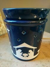Scentsy SILENT NIGHT Nativity Full Size Wax Scent Warmer Retired Blue & White