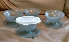 VINTAGE TUPPERWARE-4 DESSERT DISHES, SMOKEY-GRAY, BASE AND BOWL, ONE LID