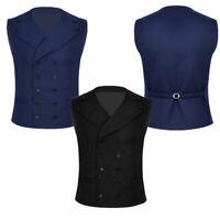 Formal Mens Lapel Collar Dress Vest Button Down Business Casual Tuxedo Waistcoat