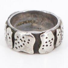 VTG Sterling Silver - Modernist Textured Freeform Band Ring Size 4.25 - 6.5g