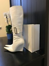 Milano Square White Knee High Leather Wedge Boots Shoes Sz 36 EUC