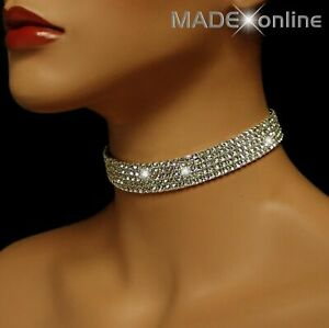 Bling Choker, Silver Plated Diamante Sparkle Stretchy Necklace