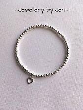 Teacher Gift Sterling Silver Stacking Bracelet Mini Heart Stretch Handmade