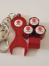SUZUKI RED Wheel Valve Dust caps & Spanner/keychain All Models SWIFT IGNIS SX4